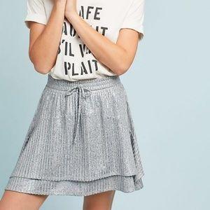 NWOT Anthropologie Dolan Silver Shimmer Skirt - M
